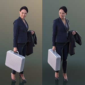 10275 Bao - Business Woman With Suitcase Smiling 3D model