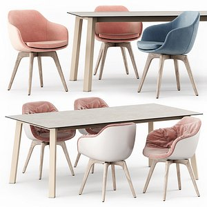 Merlot table and Lap 4011 and Lap 4012 chairs 3D