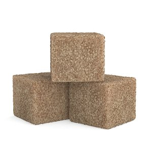 pieces brown sugar cubes 3D