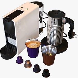 NESPRESSO Bundle Essenza Mini Aeroccino4 Lungo Cup and 4 Capsules 3D