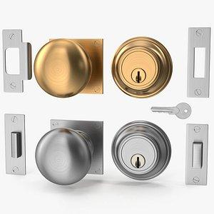 knob set steel door 3D model