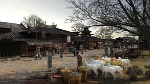 3D Ancient commercial street market Tang Dynasty ancient town model