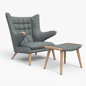 Papa Bear Chair And Ottoman Grey 3D model
