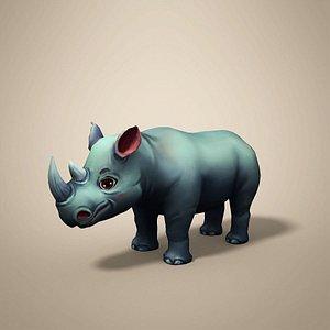 rhino rhinoceros cartoon 3D