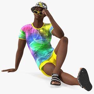 Light Skin Teenager Beach Style Sitting Pose 3D