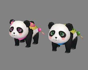 Cartoon panda mount - male panda - female panda 3D