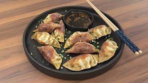 Pan fried dumplings 3D