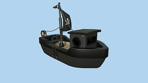 Cartoon Boat 03 - Black Pirate - Low Poly Ship 3D model