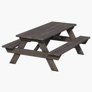Picnic Table 01 - Old 3D model