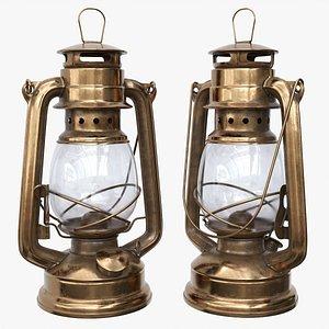 3D model Old metal kerosene lamp 01