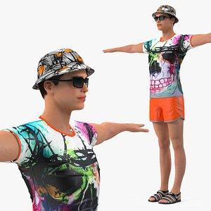 3D model Teen Boy Swimwear T Pose