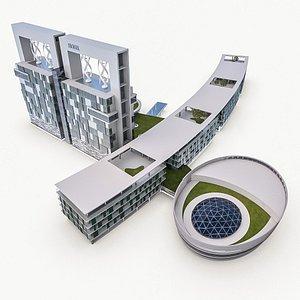 3D Hotel Resort Building (2) model