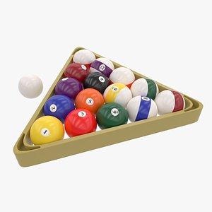 Billiard Plastic Rack and Balls 3D model