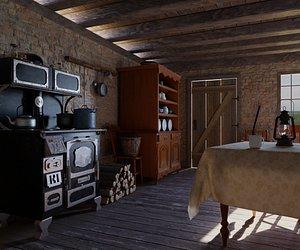 3D old western kitchen