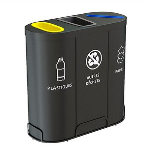 MALMO Office Waste Recycling Bin with 3 Containers 3D model