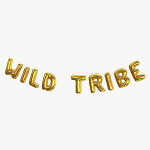 Foil Baloon Words Wild Tribe Gold 3D model
