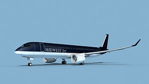 3D Airbus A220-300 Midwest Jet model