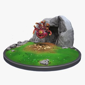 Stylized Cute Beholder Diorama 3D model