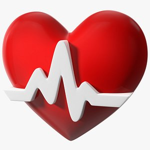 Heart with Heartbeat Line 3D model