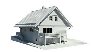 3D wooden cottage architecture model