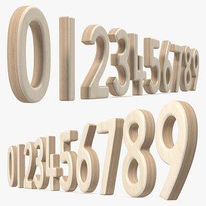 Plywood Numbers Set 3D