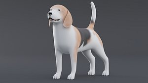 Dog Beagle Low Poly Model Game AR VR 3D