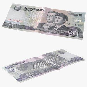 3D model North Korea 5 Won Banknote