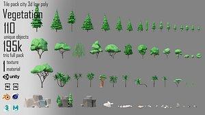 3D model low poly vegetation 1