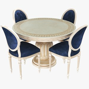 Classic Dining Table With Chairs 3D model