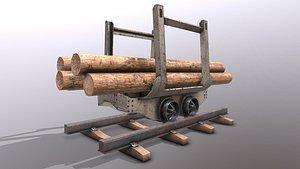 3D model Rail wagon and wood logs