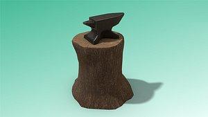 low-poly anvil 3D model