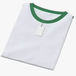 3D Female Crew Neck Folded With Tag White and Green 01 model