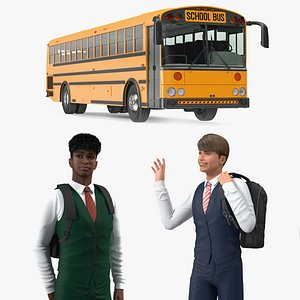 3D School Bus with Teenage Boys Rigged Collection