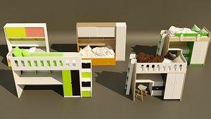 5 item bunk bed design collection. 3D