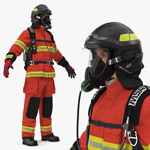 3D firefighter fully equipped fighter model