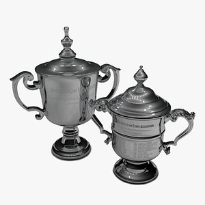 3D US Open Women and Men 2021 singles trophies L1489 model