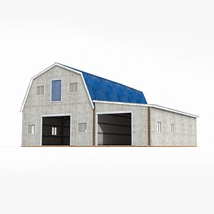 Big warehouse with blue tiles in the country model