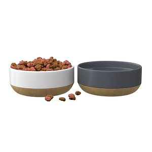 3D Pets Food Bowl White and Gray model