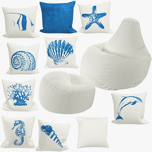 3D Bean Bag Chairs and Pillows Collection V7
