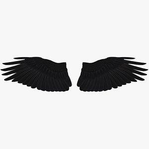 Black Raven Feather Wings 3D model