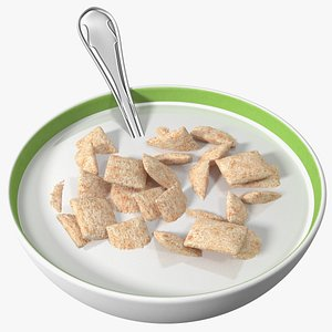 Breakfast Cereal Pads in Bowl with Milk 3D model