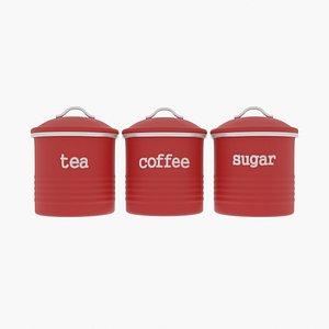 tea coffee canisters set 3D
