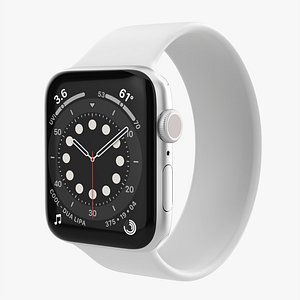 Apple Watch Series 6 silicone solo loop silver 3D