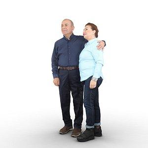 elder couple standing 3D model