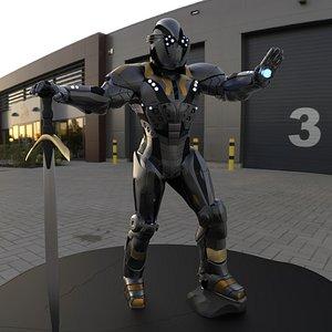 3D scifi sculpt character model