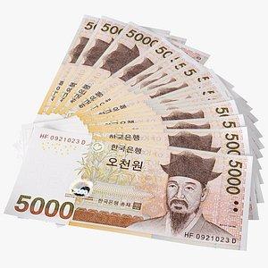 Fan Shaped South Korean 5000 Won Banknotes model