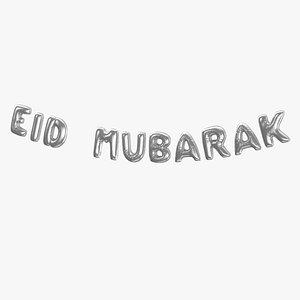 Foil Baloon Words Eid Mubarak Silver 3D model