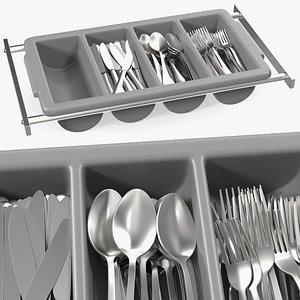 3D tray cutlery utensils model