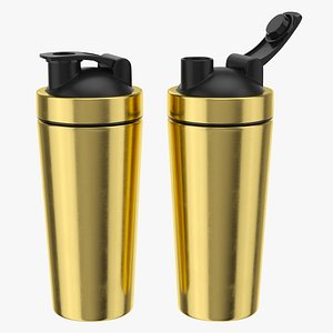 3D Stainless Steel Protein Shaker Gold model
