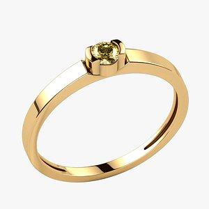 3mm Citrine Gold Ring 3D model